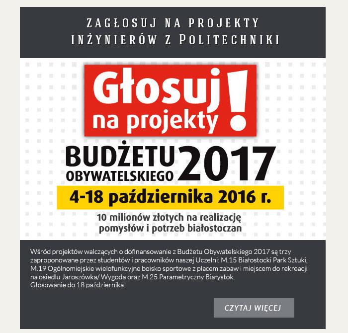 Budżet Obywatelski 2017 - zagłosuj na projekty inżynierów z PB