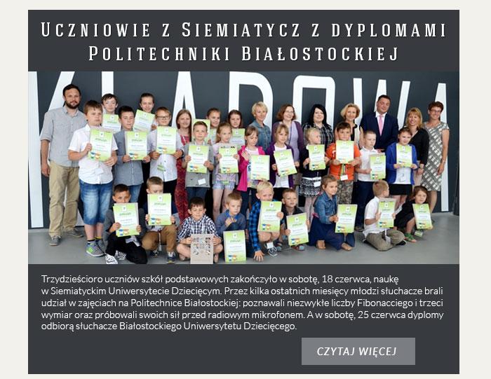 Uczniowie z Siemiatycz z dyplomami Politechniki Białostockiej